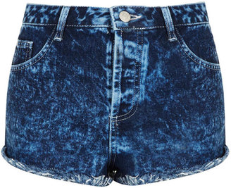 Topshop MOTO Acid Wash Denim Hotpants