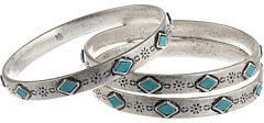 Lauren Ralph Lauren LAUREN by Ralph Lauren Bar Harbor 3 Set Etched Metal and Turquoise Cabs Bangles