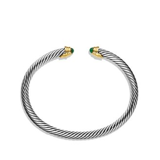 David Yurman Cable Kids May Birthstone Small Bracelet with Emerald and Gold