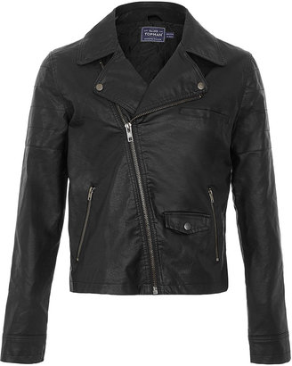 Topman Black Leather Look Biker Jacket