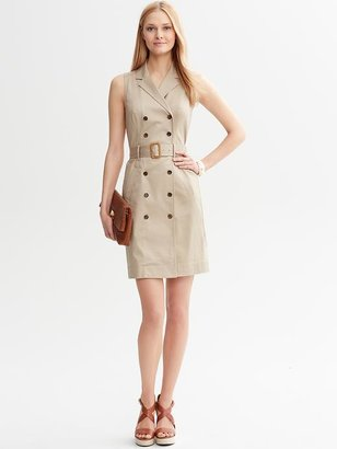 Banana Republic Belted Khaki Double-Breasted Shirtdress