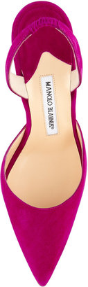 Manolo Blahnik Carolyne Suede High-Heel Halter Pump, Purple