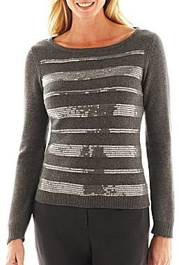 Liz Claiborne Long-Sleeve Sequin-Striped Sweater