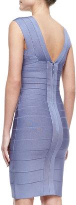 Herve Leger Sleeveless Deep-V Bandage Dress