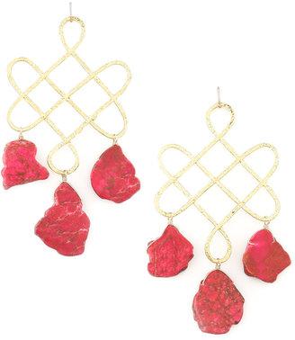 Devon Leigh Red Howlite Drop Earrings