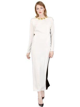 Embroidered Silk Blend Dress