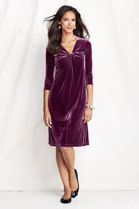 Lands' End Women's Petite 3/4-sleeve Knit Velvet Knot Neck Dress