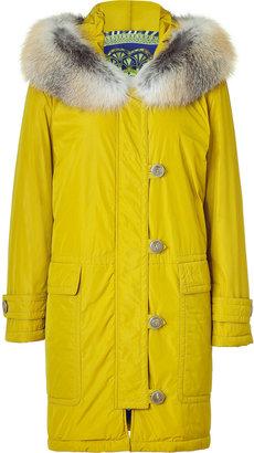 Emilio Pucci Goldolive Fox Fur Trimmed Coat