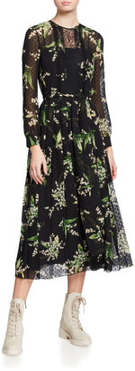 RED Valentino Floral-Print Sheer-Sleeve Midi Dress