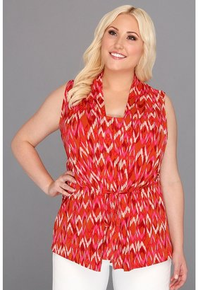 Klein Plus Anne Plus Size Ikat Print Tie Waist Top (Coral Multi) - Apparel
