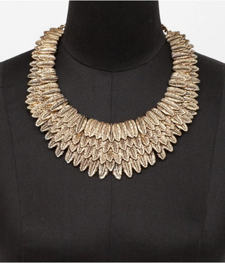 Express Layered Metal Feather Collar Necklace