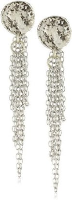 """TAT2 Designs """"Coin"""" Antique Silver Coin Dangling Chain Earrings"""