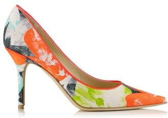 Jimmy Choo Agnes Neon Flame, Peppermint and Lime Orchid Print Canvas Pointy Toe Pumps
