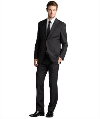 Prada grey micro plaid wool two-button suit with flat front pants