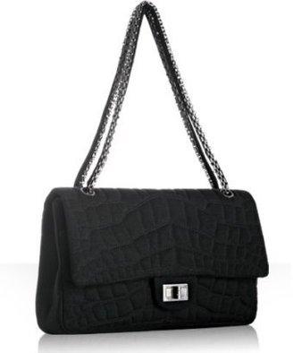 Chanel black quilted jersey flap shoulder bag