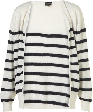Topshop Knitted Cream Angora Mix Breton Stripe Cardigan