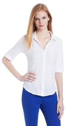 Calvin Klein Jeans Women's Mixed Media Embroidered Woven Shirt