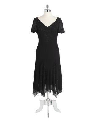 J Kara Beaded Cocktail Dress With Godet Skirt