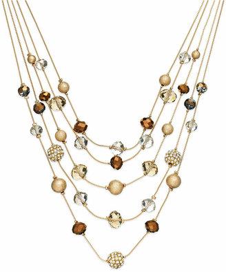 INC International Concepts I.N.C. Gold-Tone Bronze Bead Illusion Necklace