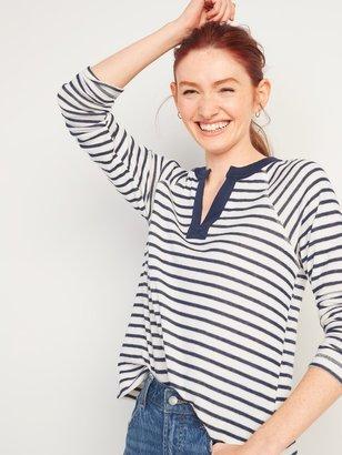 Old Navy Loose Split-Neck Jersey-Knit Raglan-Sleeve Top for Women