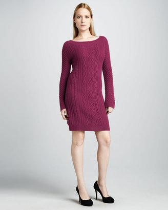 Neiman Marcus Cable-Knit Cashmere Dress