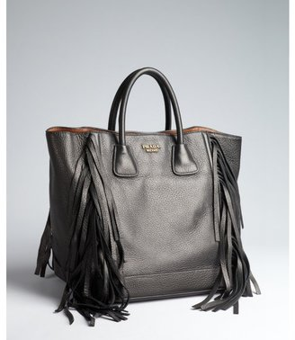 Prada black and brown leather tasseled top handle bag
