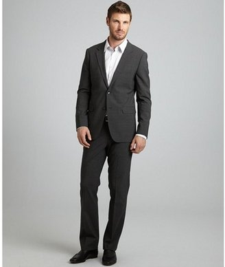 Theory heather grey stretch wool 'Xylo JS Godsford' 2-button suit with flat front pants