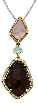 Lord & Taylor Multi-Stone and Diamond-Accented Pendant in Sterling Silver with 14 Kt. Yellow Gold