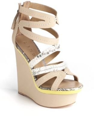 L.A.M.B. Jenelle Leather Platform Wedge Sandals