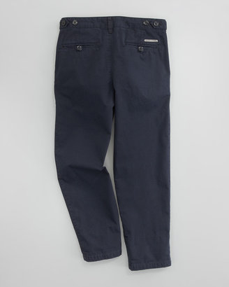 Burberry Check-Cuff Twill Pants, Ink