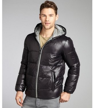 Buffalo David Bitton black and grey quilted nylon cropped down filled hooded coat