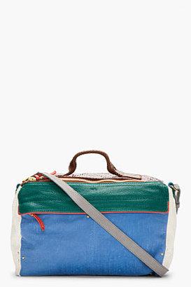 Jerome Dreyfuss Blue Colorblock Snakeskin & leather Raoulla Shoulder Bag