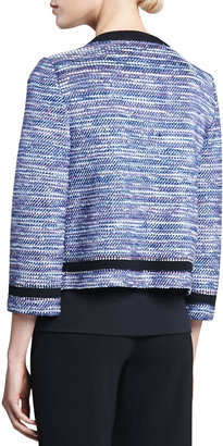 St. John Spliced Cord Tweed Knit Three-quarter Length Sleeve Jacket with Pique Knit Trim, Pacific/Multi