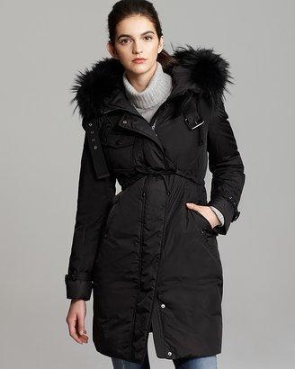 Moncler Phalangere Fur Trimmed Coat