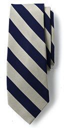 Lands' End Men's Wide Stripe Necktie-Navigator Blue Mini Stripe