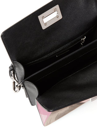 Prada Saffiano Leather Printed Accordion Shoulder Bag