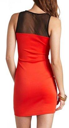 Charlotte Russe Mesh Cut-Out Color Block Dress