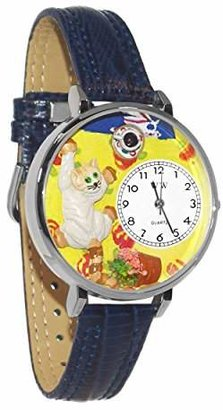 Whimsical Watches Unisex U0120003 Bad Cat Navy Blue Leather Watch