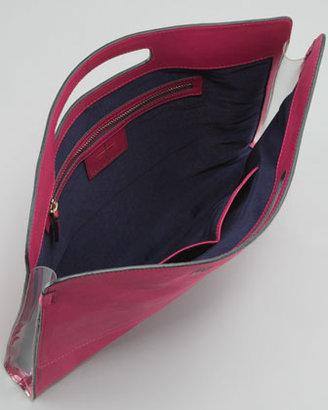 Pour La Victoire Yves Oversized iPad Clutch Bag, Fuchsia