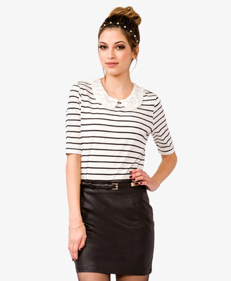 Forever 21 Striped Lace Collar Top
