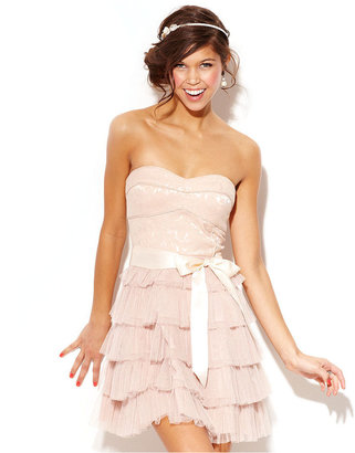 Amy Byer BCX Juniors Dress, Strapless Tiered Ruffle