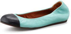 Lanvin Cap-Toe Ballerina Flat, Black/Green