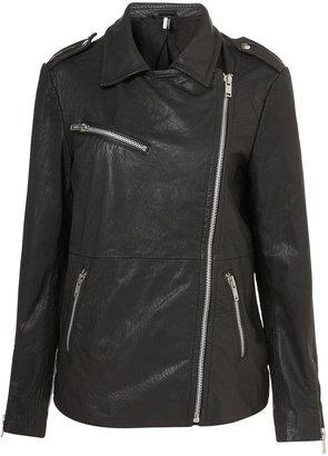 Topshop Oversized Leather Biker Jacket