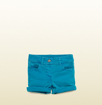 Gucci Turquoise Denim Rolled Shorts