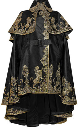 Alexander McQueen Embroidered silk-jacquard cape