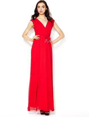 Vera Wang Silk Crinkle Chiffon Flower Belted Gown