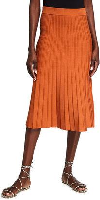 Jonathan Simkhai Ira Compact Knit Pleated Midi Skirt