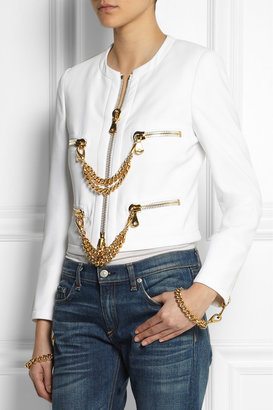 Moschino Chain-trimmed crepe jacket