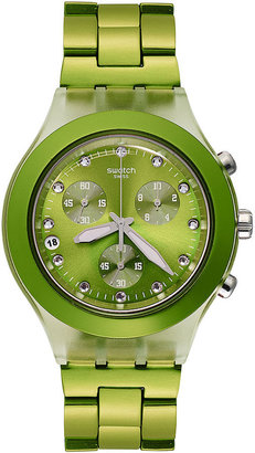 Swatch Watch, Unisex Swiss Chronograph Full-Blooded Lime Green PVD Aluminum Bracelet 43mm SVCK4071AG