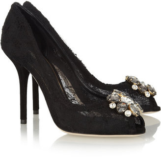 Dolce & Gabbana Crystal-embellished lace pumps